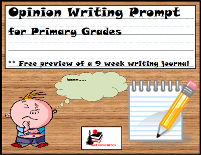 Free opinion writing prompt for primary aged students from Raki's Rad Resources.