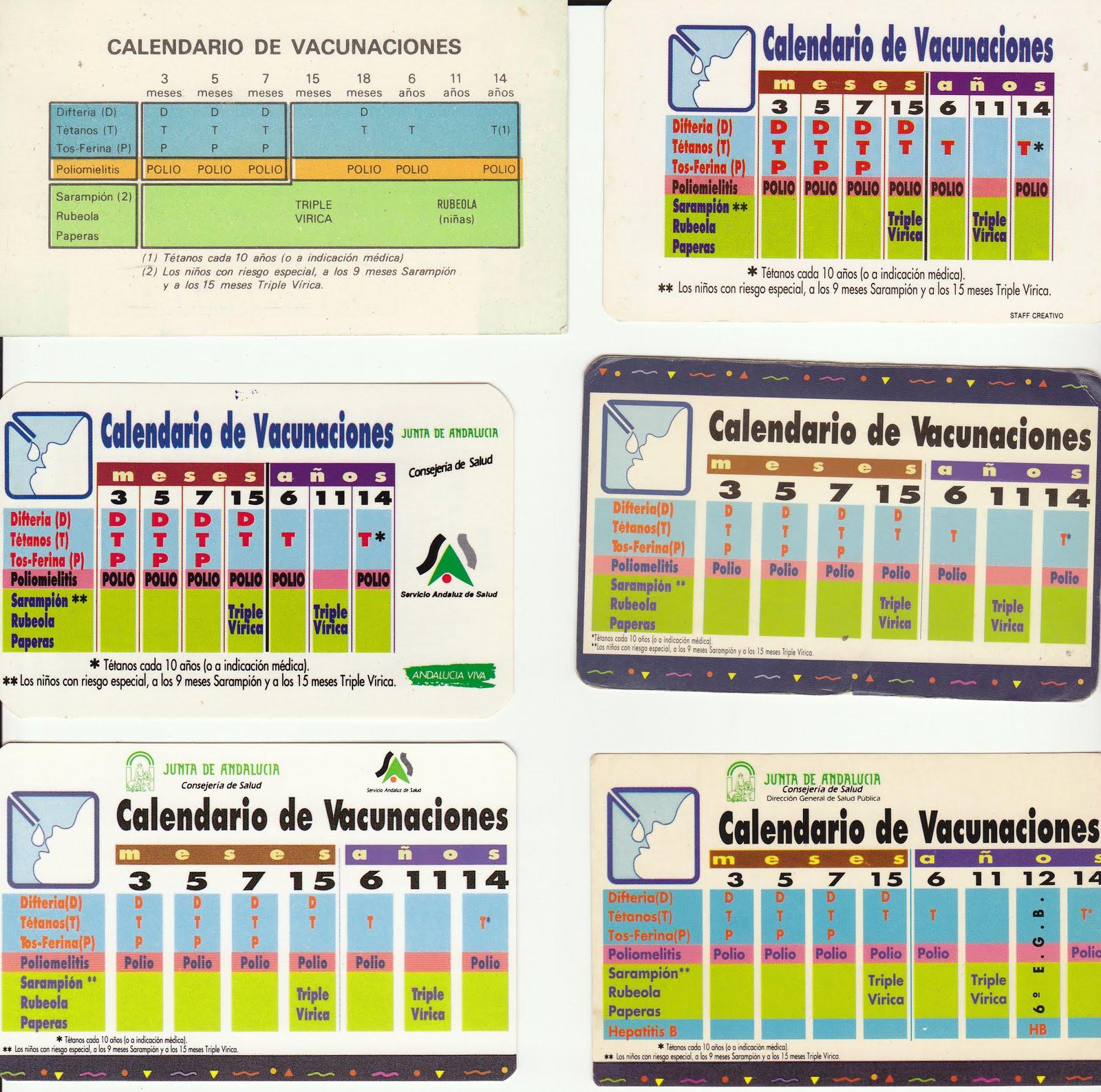 Calendario Vacunal Andalucia 2019.Colecciono Calendarios Vacunas Junta De Andalucia 1988 2011