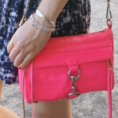 Blue printed shorts, OPI Koala bear-y polish, Rebecca Minkoff neon pink mini MAC | awayfromtheblue