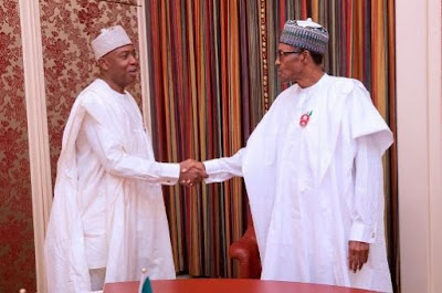 Pres Buhari holds separate meetings with Saraki, Dogara in the villa