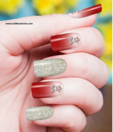 Nail art with glitters