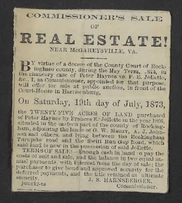 Newspaper ad for sale of Fannie Jollett's land 1873 https://jollettetc.blogspot.com