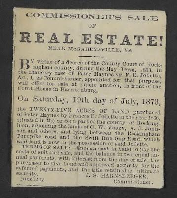 Newspaper ad for sale of Fannie Jollett's land 1873 https://jollettetc.blogspot.com