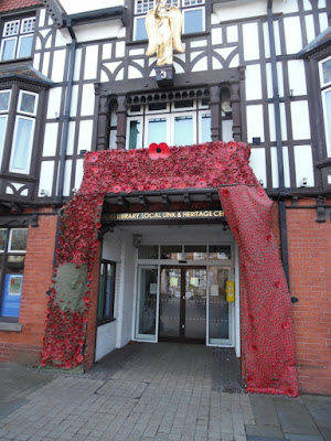 This Poppy Cascade at the entrance to the Angel building was one way in which Brigg marked the 100th anniversary of the guns falling silent in the First World War - see Nigel Fisher's Brigg Blog