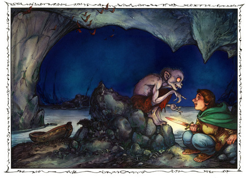06-Riddles in the Dark-Artist-David-Twenzel-Watercolour-The-Hobbit-Frodo-Baggins-Gandalf