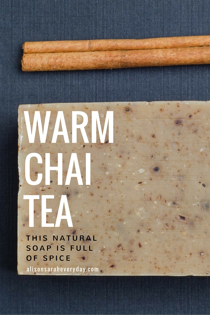 A Pinterest Graphic for Camamu Spicy Chai Soap and Warn Chai Tea as a flatlay