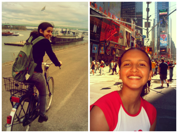 À esquerda, Erika durante os passeios de bicicleta em Koln e, à direita, Thaís em New York