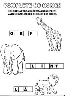 Atividade alfabetização vogais