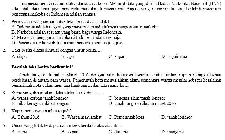 Kisi Kisi Soal Dan Jawaban Bahasa Indonesia Smp Kelas 8 Pas Semester Ganjil Didno76 Com