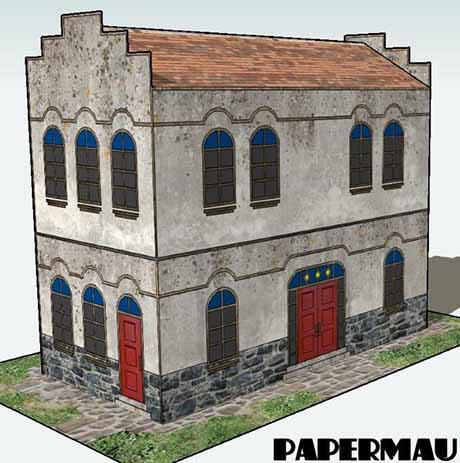 Paperized: Old Two-Storey House Paper Model