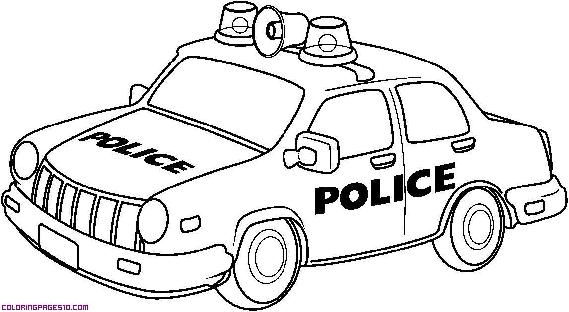 Gambar Mobil Polisi Untuk Mewarnai