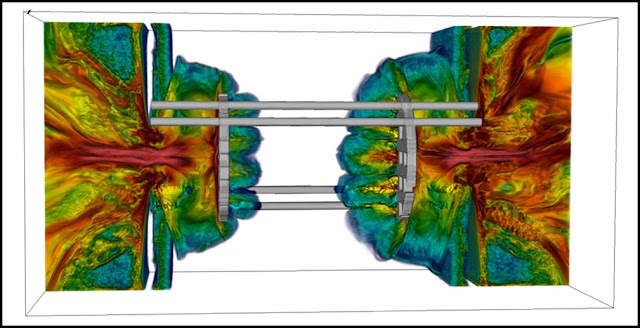 Three-dimensional FLASH simulation of the experimental platform, performed on the Mira supercomputer. Shown are renderings of the simulated magnetic fields before the flows collide. Courtesy of the Flash Center for Computational Science