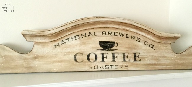 Repurposed Headboard Coffee Sign www.homeroad.net