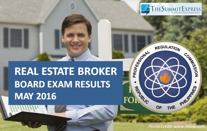 May 2016 Real Estate Broker board exam results