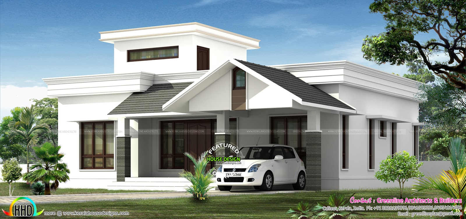 Low budjet single floor house design two side views for Low budget home plans