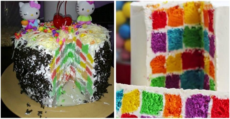 Belajar Berkreasi Buat Rainbow Cake Papan Catur yuk! Ini