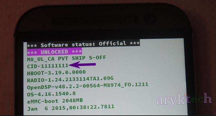 Identify HTC CID Number via HBoot Screen