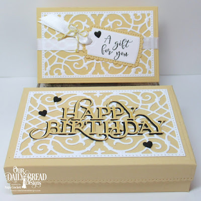 ODBD Custom Gift Card Holder Dies, ODBD Custom A Gift For You Dies, ODBD Custom The Giving Box Dies, ODBD Custom Happy Birthday Caps Die, ODBD Custom Clouds and Raindrops Dies, ODBD All God's Blessings Stamp/Die Duos, Gift Set Designed by Angie Crockett