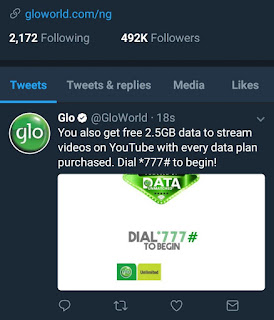 glo free data for YouTube