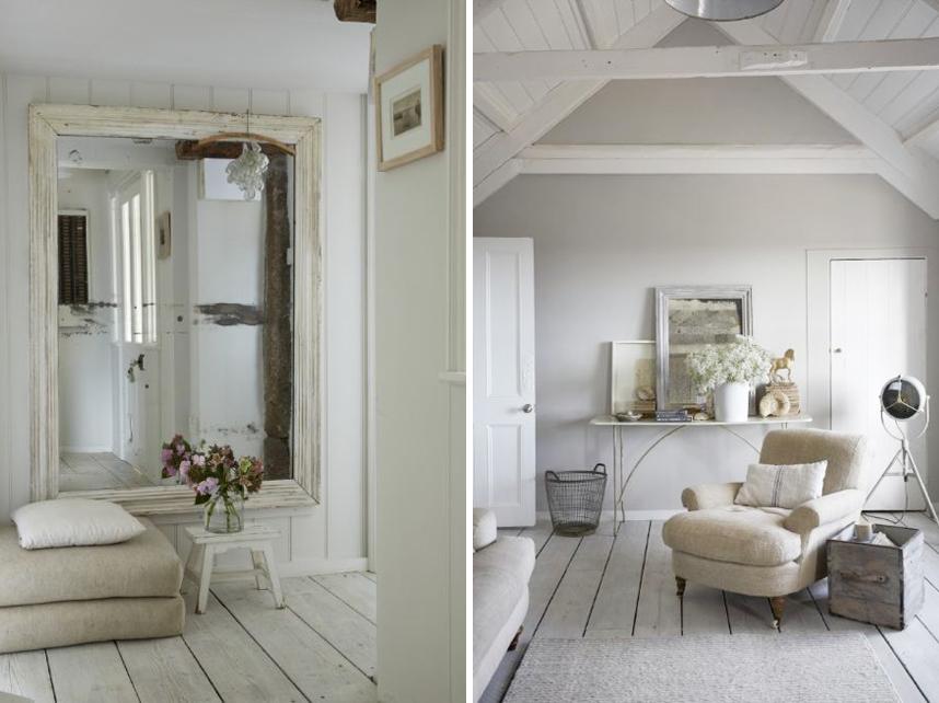 Il bianco e le sue mille sfumature shabby chic interiors for Rivestimento perline legno bianco