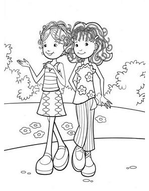 coloring pages two girls | Sonhando com cores: Amigas
