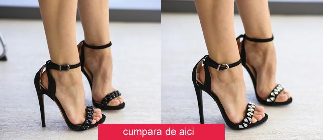 Sandale negre ieftine cu toc inalt de ocazii speciale de vara