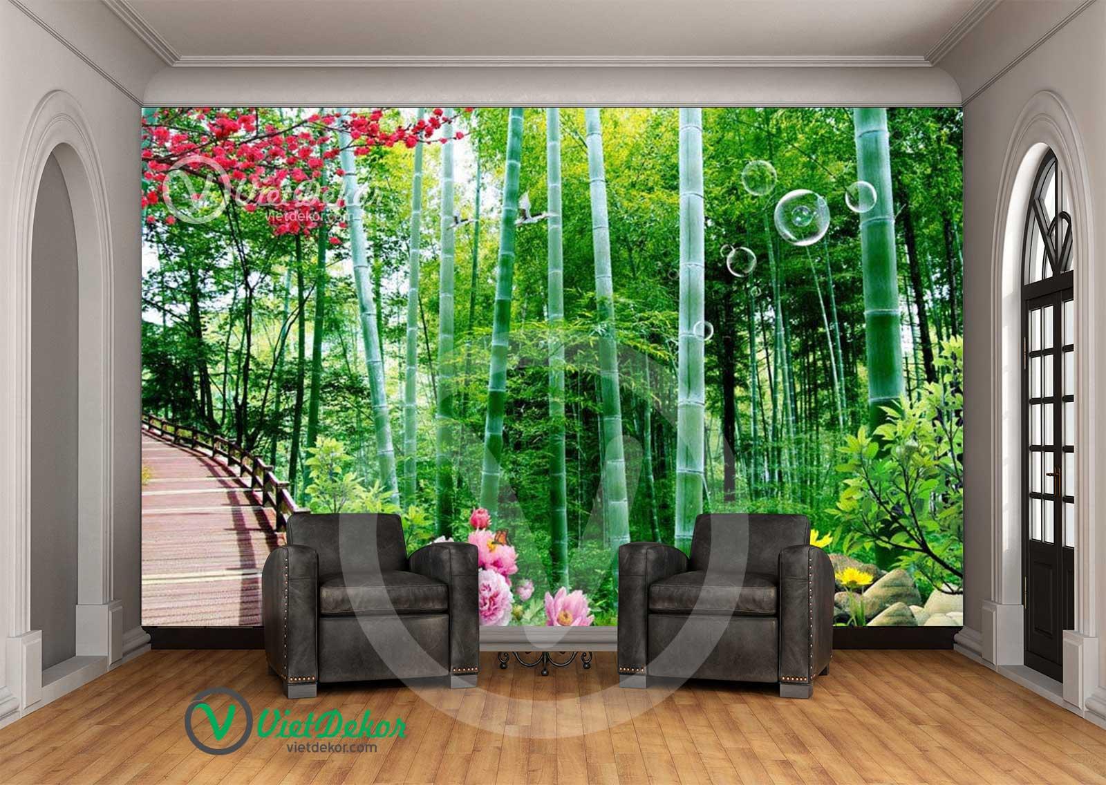 Tranh dán tường rừng trúc đẹp