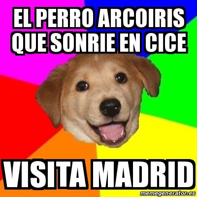 el perro arcoiris que sonrie en cice visita madrid