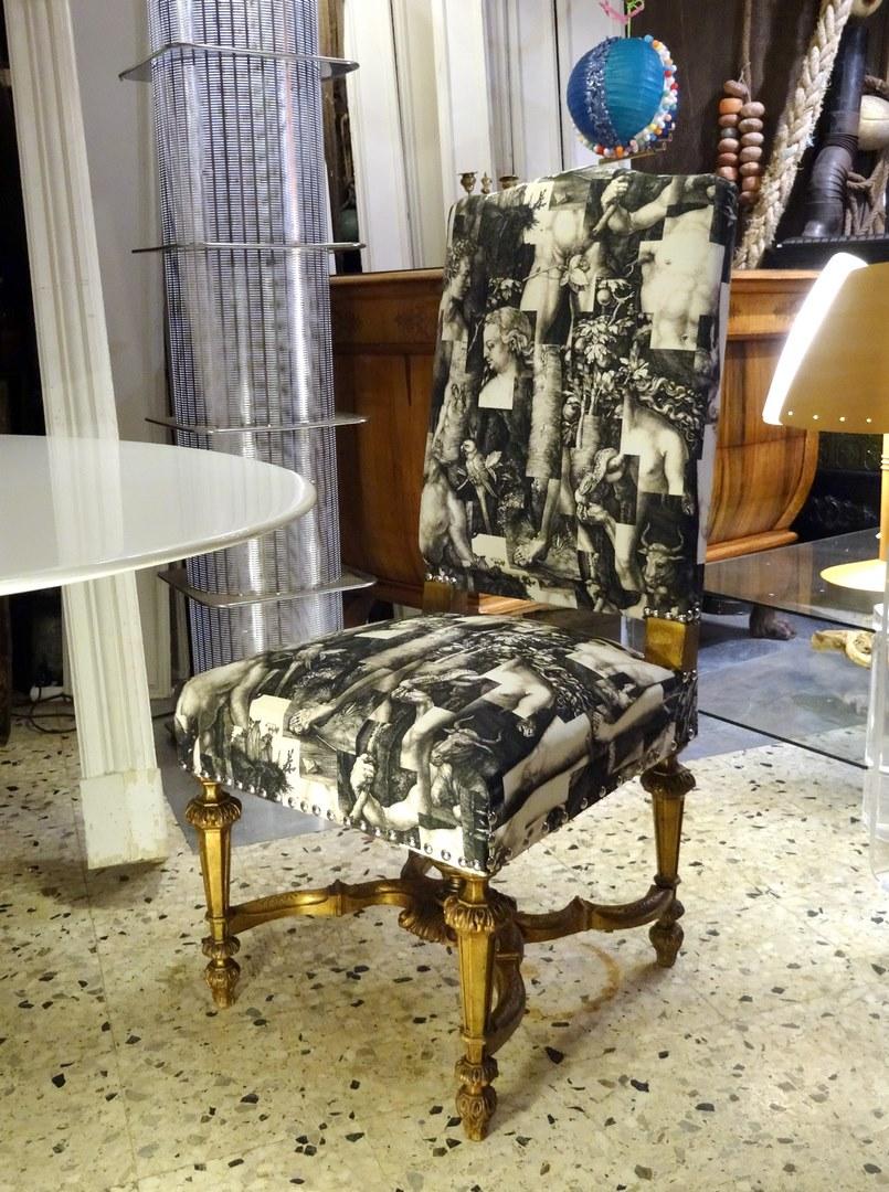 brocante d coration un nouveau monde chaise style louis xiv bois dor relook e. Black Bedroom Furniture Sets. Home Design Ideas