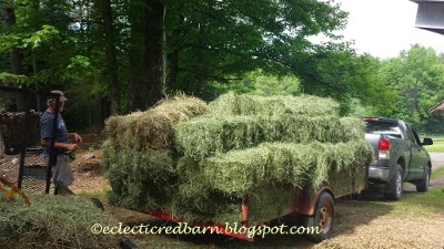 Eclectic Red Barn: Trailer loaded with hay