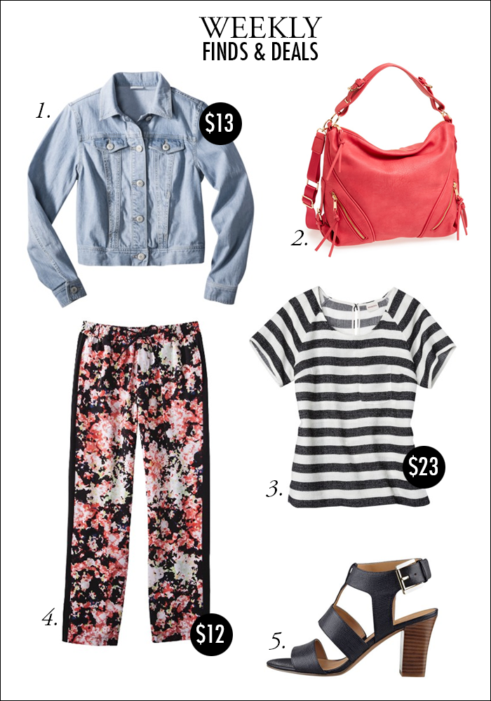 floral pants, denim jacket, how to wear stripes and floral, t-strap sandal, nordstrom, bogo sales