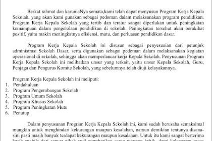 Dokumen Contoh Program Kerja Kepala Sekolah SD