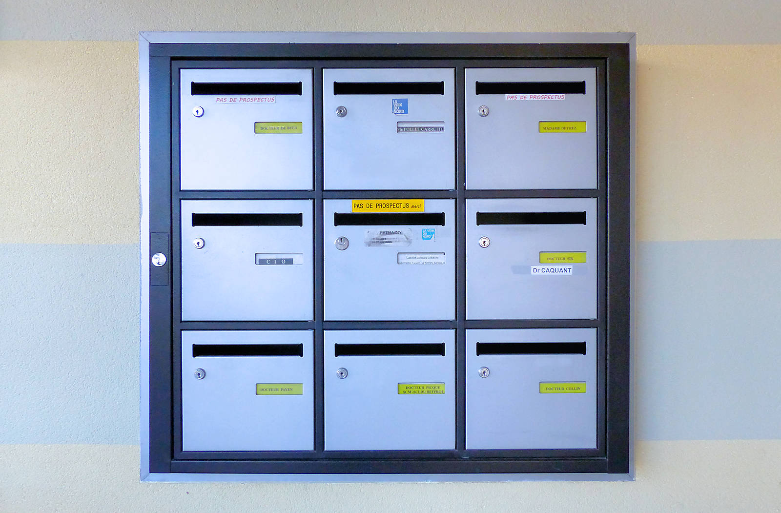 Les boîtes aux lettres de chaque ophtalmologiste