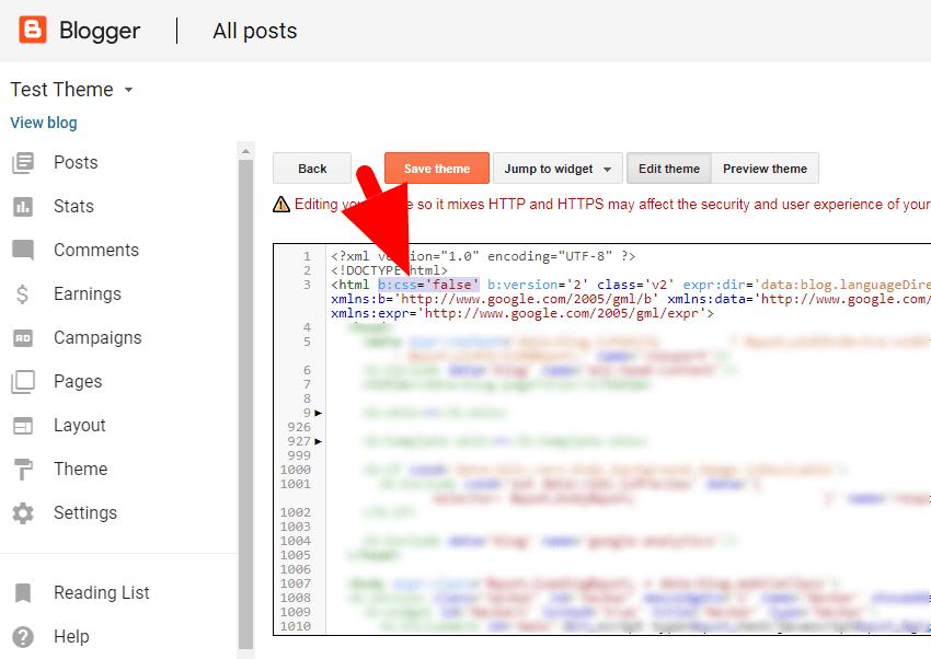 disable blogger theme css widget css make blog page lighter easily