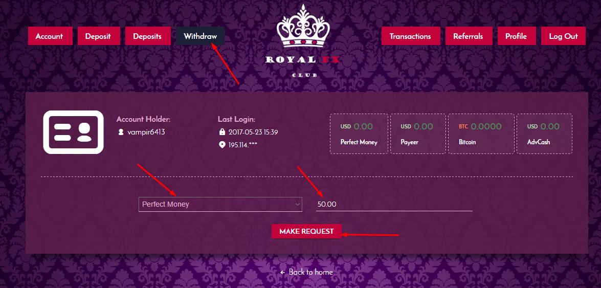 Регистрация в Royal FX 3