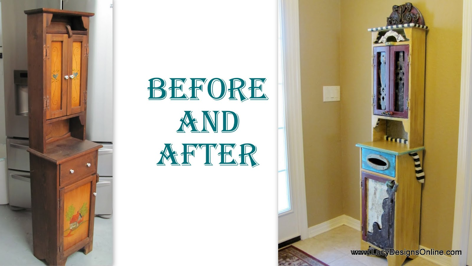 painted furniture country cabinet before and after