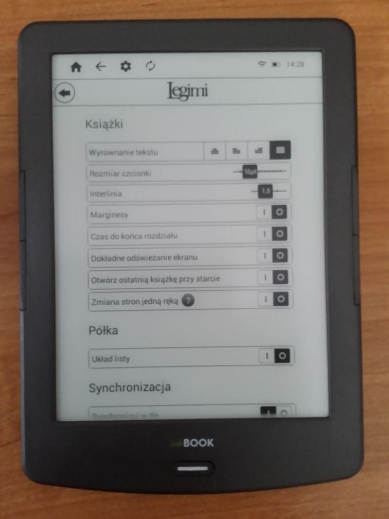 Widok ustawień w aplikacji Legimi