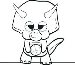 Cute Baby Triceratops Coloring Sheet For Kids