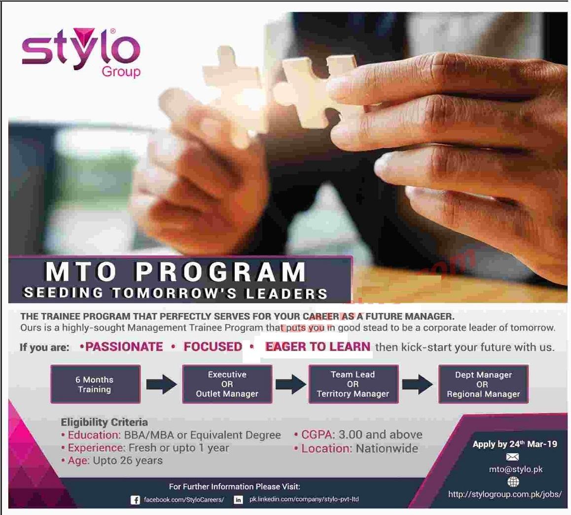 Stylo Group Pakistan Management Trainee Program 2019
