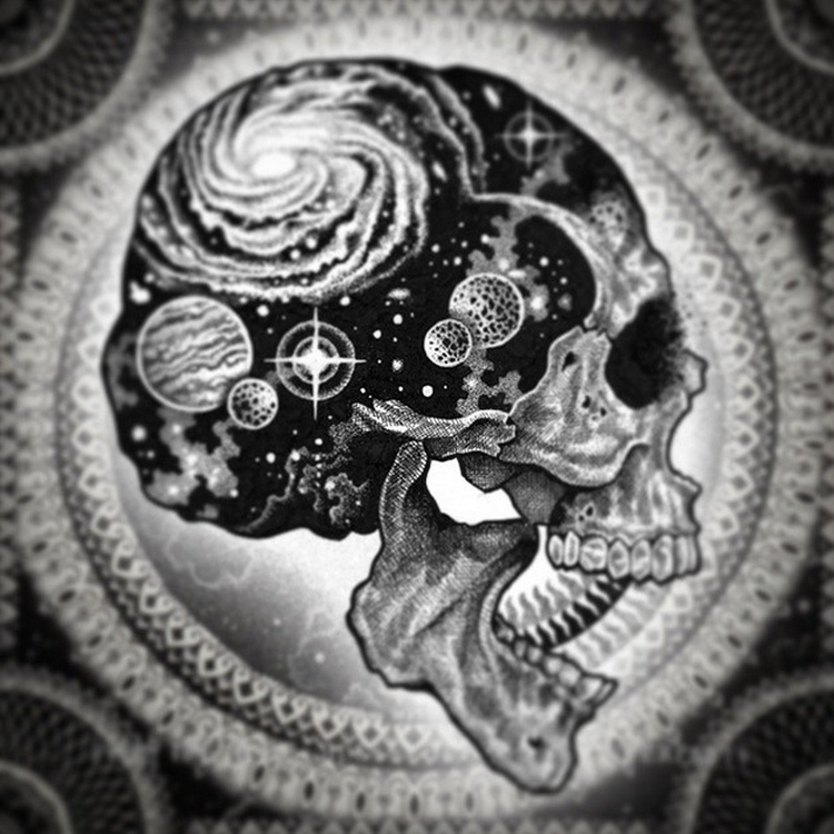 11-Universe-in-the-Skull-Tony-Graystone-Neon-Mystic-Black-and-White-Drawings-www-designstack-co