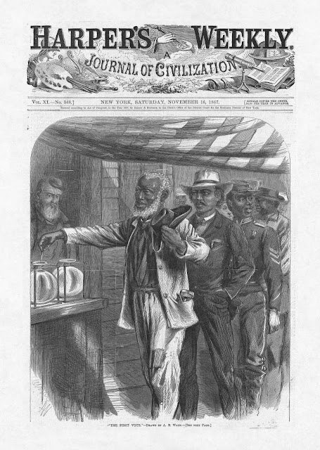 "The First Vote,"" Harper's Weekly, November 16, 1867, artist is Alfred R. Ward"