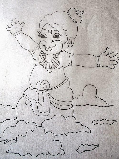 Pencil Drawing of Little Hanuman