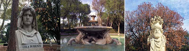 La fontana dei cavalli marini collocata nella villa ai primi del 700, le statue collocate all'ingresso di via Pinciana posteriormente alla galleria Borghese, e quelle disposte poco prima di arrivare alla terrazza del Pincio, di cui solamente 6 raffigurano personaggi di sesso femminile.