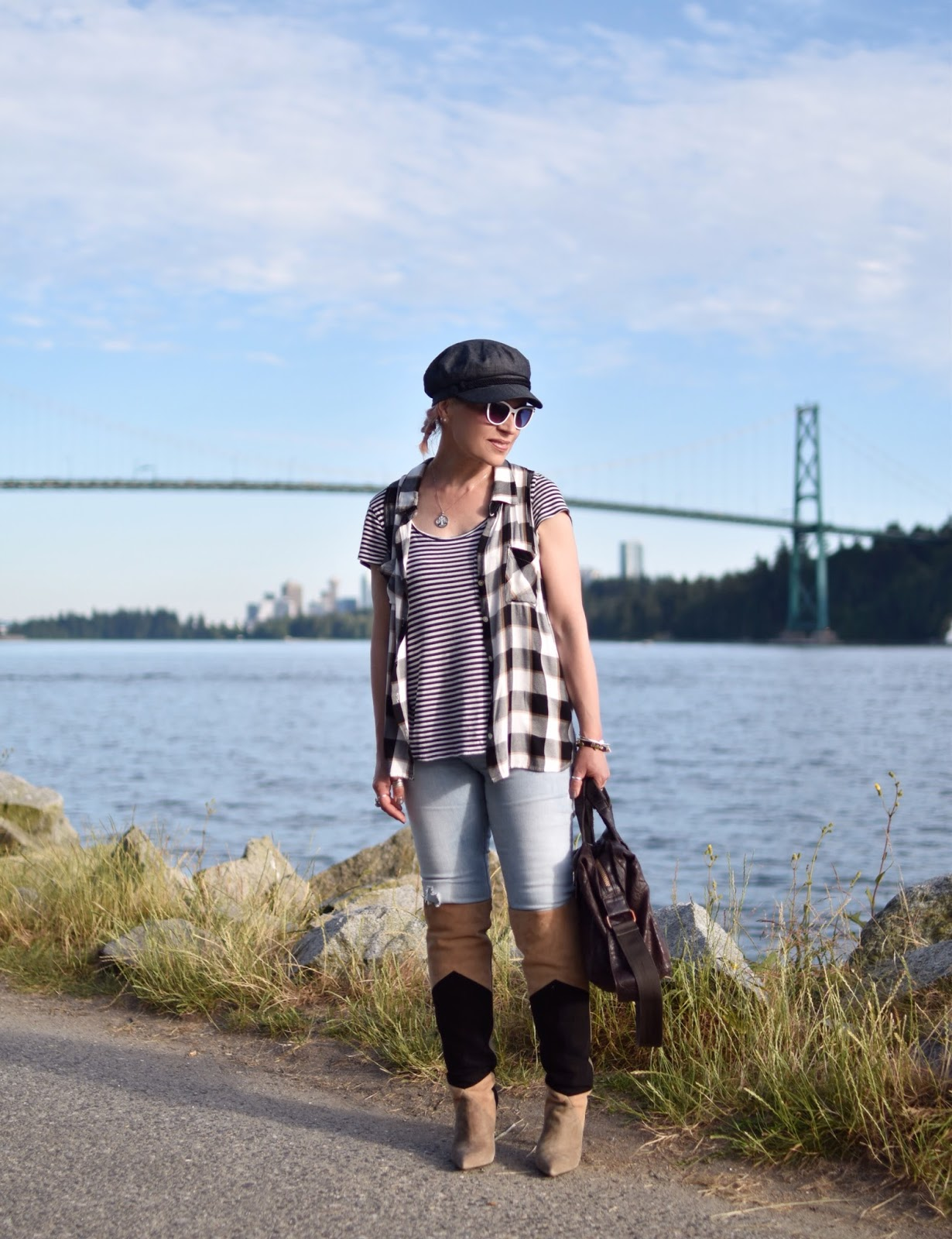 72986f63b92f2 Monika Faulkner personal style inspiration - layered striped and plaid tops  with skinny jeans and OTK ...