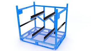 Renderización Rack para el transporte de piezas. Vacio.
