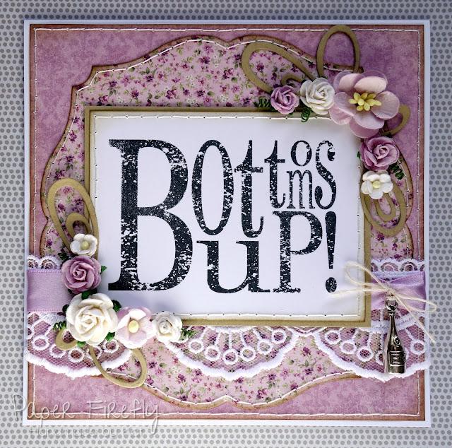 Lilac vintage floral 'bottom's up!' card