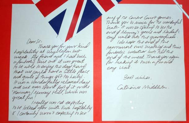 Duchess Kate Kate\u0027s heartfelt thank you letter to Wimbledon chiefs