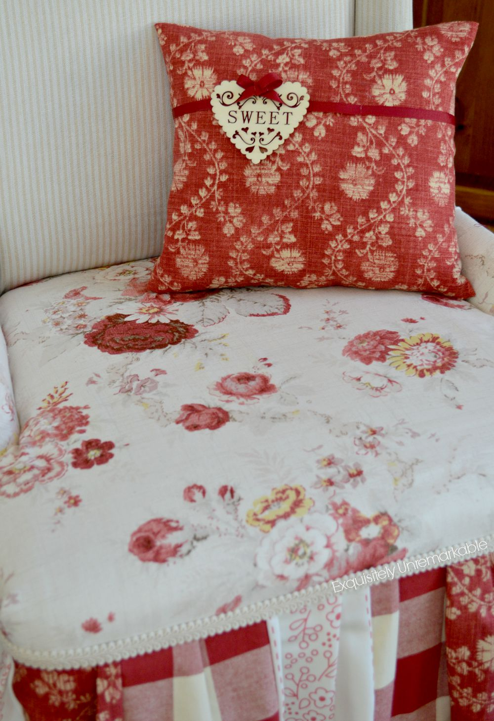 Heart embellished pillow