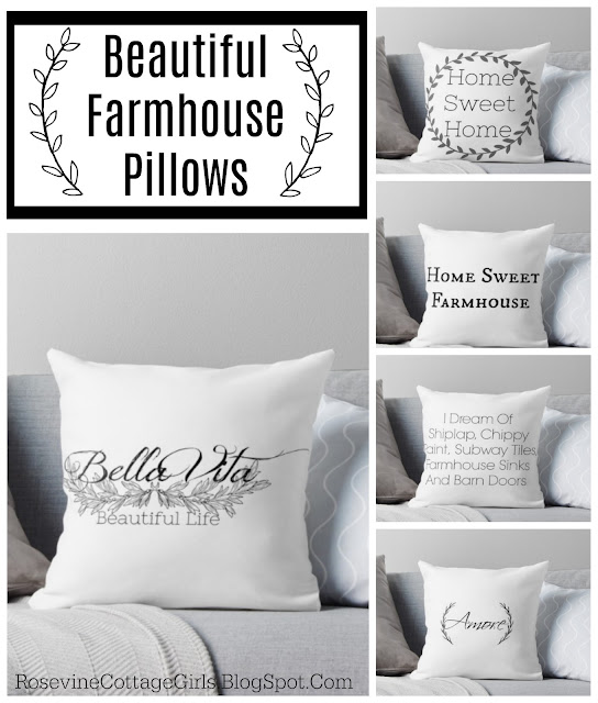 A collage of farmhouse pillows | text Beautiful Farmhouse Pillows | rosevinecottagegirls.com Purchase farmhouse pillows