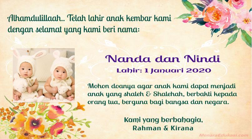 8 Contoh Dan Template Kartu Ucapan Selamat Kelahiran Bayi Kembar